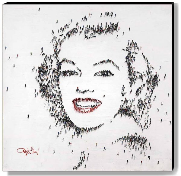 Craig Alan Marilyn Monroe Red Lips Smile Original Oil Painting on Canvas with Surreal People