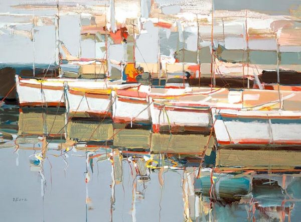 Josef Kote - All Together Giclee on canvas of five colorful sailboats at the dock