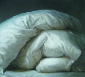 Carol O'Malia large painting of pillows on bed with light and shadow