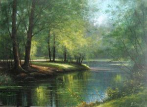 Fortunato Ornaghi oil painting Along the River