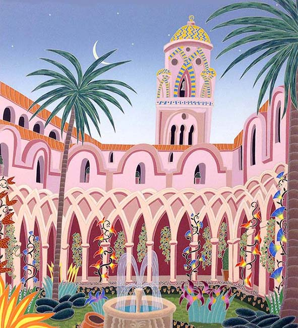 Thomas McKnight - Amalfi Cloister print of courtyard of church in Italy