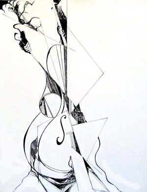 Gary Smith Abstract drawing of a stringed instrument