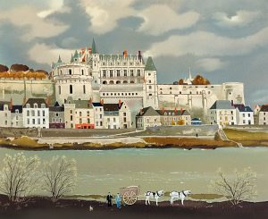 Michel Delacroix - Amboise print of french chateau and river