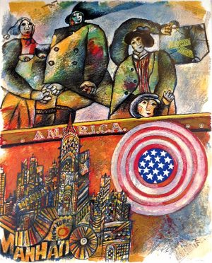Theo Tobiasse - America judaica print of immigrants arriving in manhattan