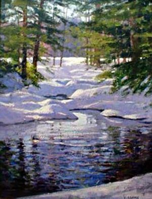 Lynne Adams Amethyst Brook in Winter II (20x16 oil on canvas) A painting of a brook in a forest in winter