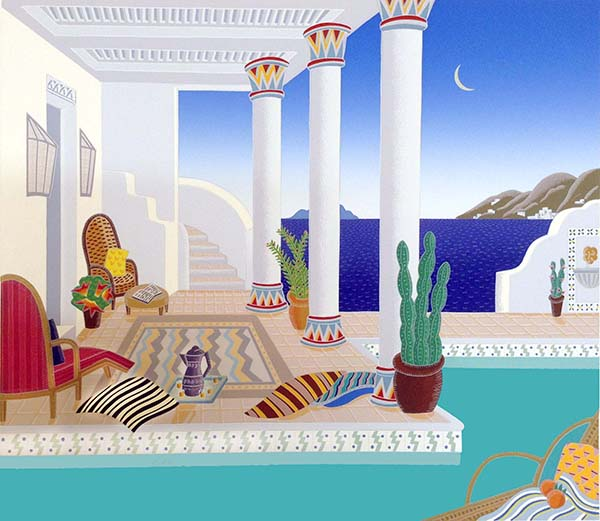 Thomas McKnight - Andalusian Pool print of house with pool overlooking ocean in Greece