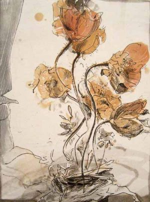Jürgen Görg - Anemone (9x7 etching)