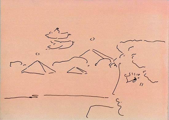Peter Max - Angels and Pyramids print of contour line drawing of angels flying over pyramids