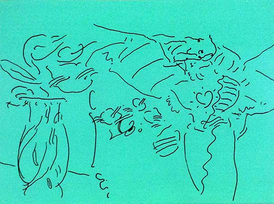 Peter Max - Angels in Thought print of contour line drawing of an angel with a heart on her chest and a vase with flowers