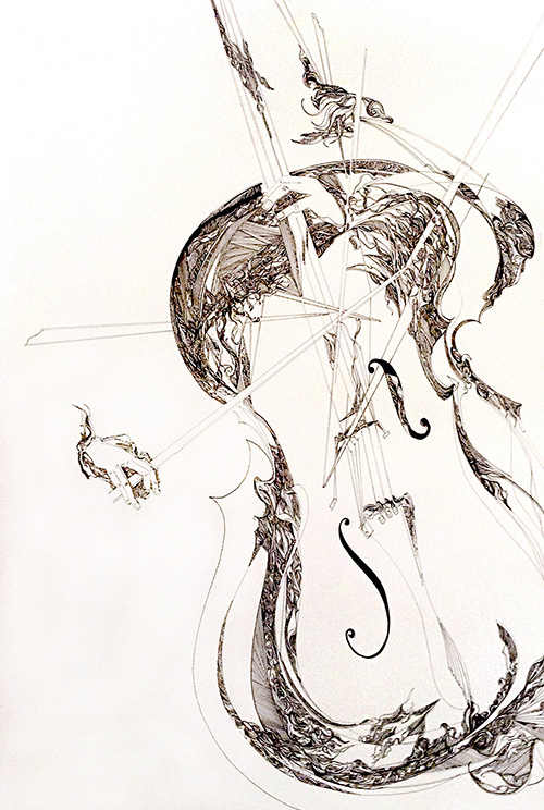 Gary Smith Abstract Contemporary Pen and Ink Black White Abstract Musical Cello Instrument