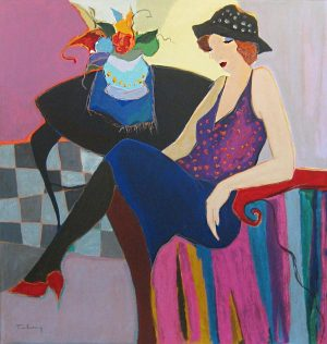 Itzchak Tarkay - Anne Marie serigraph of woman seated at table