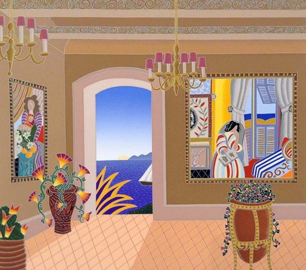 Thomas McKnight - Antibes print of room with paintings with view of ocean