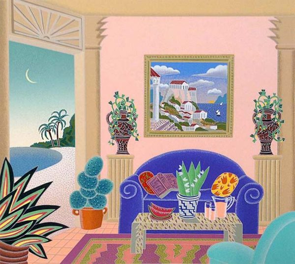 Thomas McKnight - Antiqua print of living room with opening to the beach