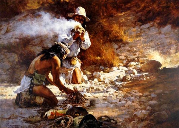 Howard Terpning - Apache Fire Makers print of two men lighting kindling