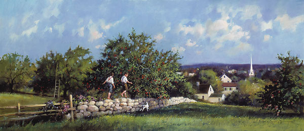 Paul Landry - Apple Orchard print of boys walking along stone wall with village in background