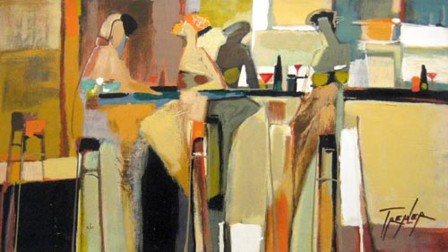 Yuri Tremler Aperitif Transitional Abstract Figurative Scene of Women in Bar with Cocktails