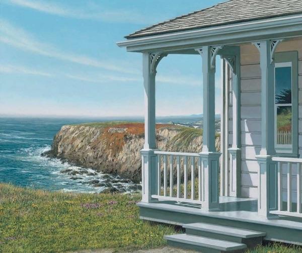 Edward Gordon - April 2nd Giclee of house on ocean cliff