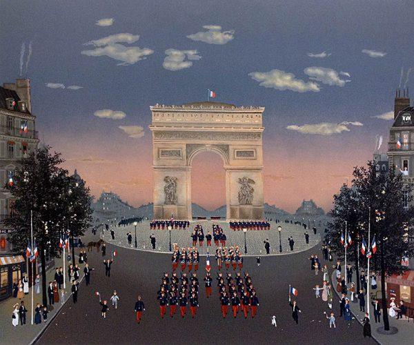 Michel Delacroix - Arc de Triomphe folk art print of the famous arch d triumph landmark in Paris