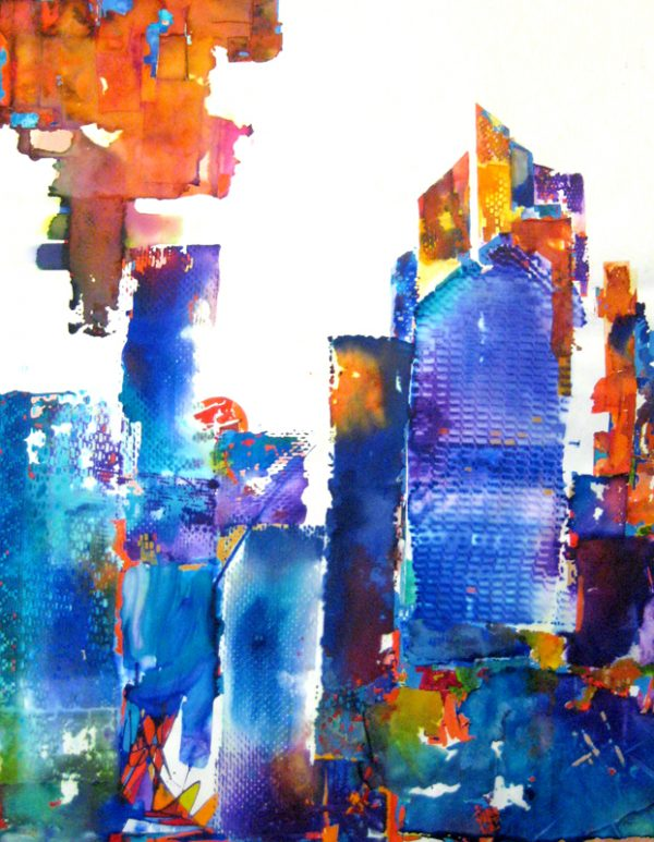 Gary Smith Abstract Watercolor of Cityscape Skyline in Rainbow Colors