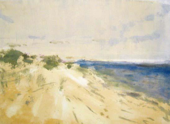 Jane E Cooper Contemporary Impressionist Blue and Sand Ocean Scene