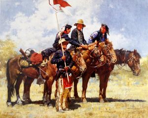 Howard Terpning - Army Regulations print of native american soldiers on horses with a flag