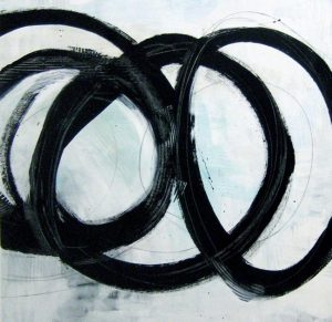 Carlyn Janus Contemporary Abstract with Black Circles on White with Teal