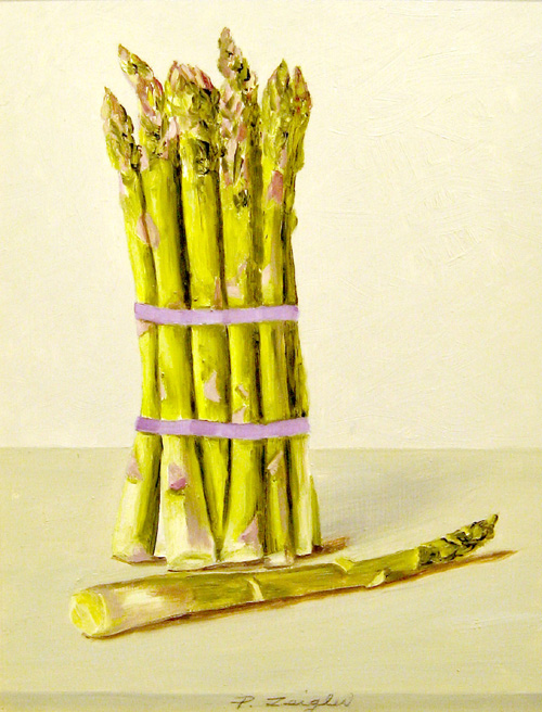 Patti Zeigler Still-life Painting of Asparagus on Neutral Background