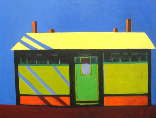 Karen Jones Painting of a Train Station in Green and Yellow