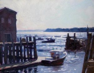 Bjorn Runquist - At the Wharf 8am painting of dock with boats in morning
