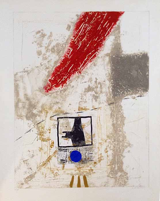 James Coignard Attente (50x38 carborundum engraving etching) abstract with geometric shapes