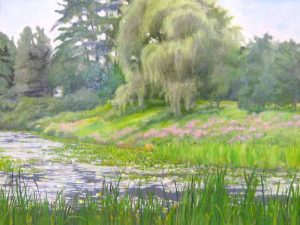 Hilary Baldwin Oil Painting of Summer Pond Lush with Green