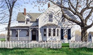 Carol Collette etching on paper of white house with trees and picket fence in the autumn new england