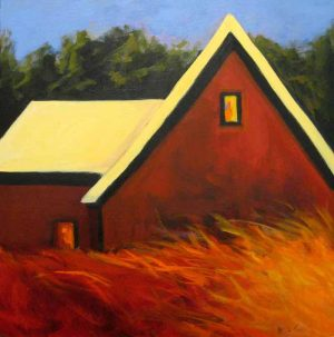 Karen Jones Barn Landscape Painting of Barn with Orange Grass