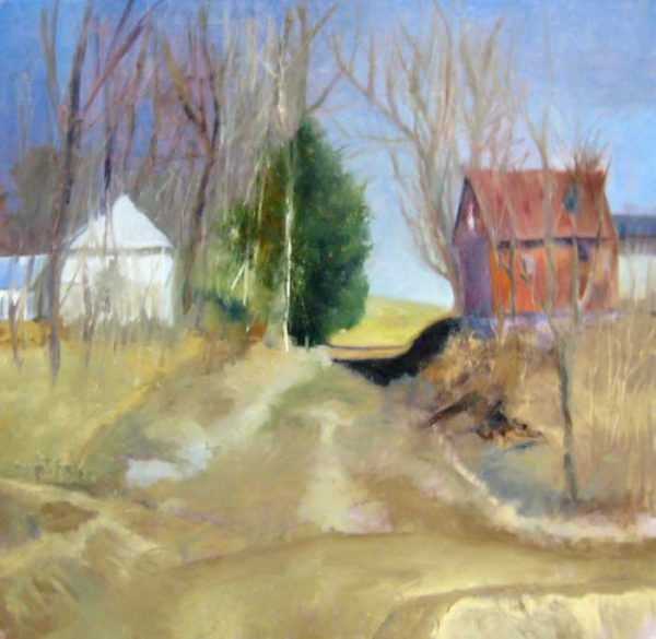 Pat Foster Impressionist Painting of a Farm Land with Barns and Trees and Blue Sky