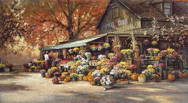 Paul Landry - Autumn Market print of barn with flower market