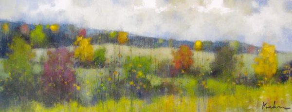 Jeff Koehn Oil Painting on Canvas of Green Meadow Landscape with Fall Trees
