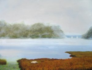 Ken Northup oil painting of misty autumn marsh