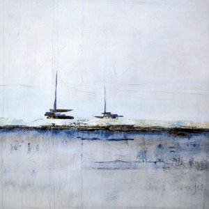Karolina Vera Sussland Oil Painting on Canvas of Abstract Boats on Ocean Horizon in Blue and Gray