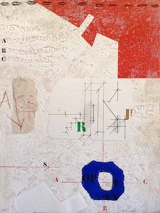 James Coignard Axial de Bleu (30x22 carborundum engraving etching) abstract expressionist art on paper with red and blue on white with geometric shapes