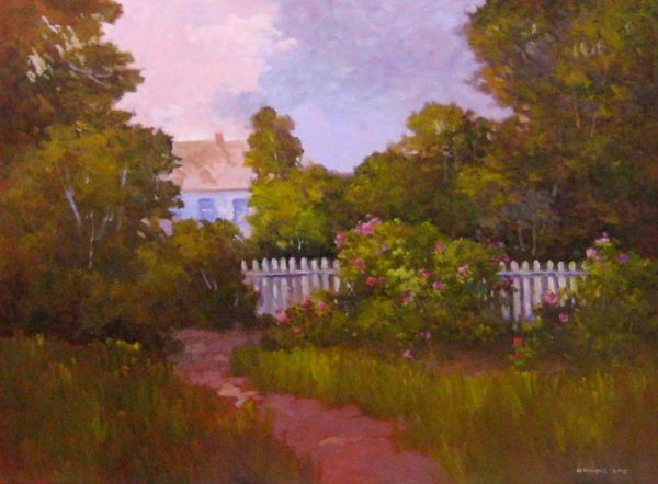 Monique Sakellarios oil painting on canvas of lush green backyard with trees