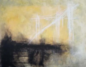 Anthony James Yellow and Black Contemporary Abstract on Canvas