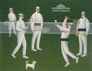 Jan Balet - Badminton print of men dressed in white with rackets and a net