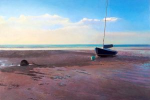 Robert Bolster Oil Painting on Linen of Sail Boat Beached on the Coast of New England