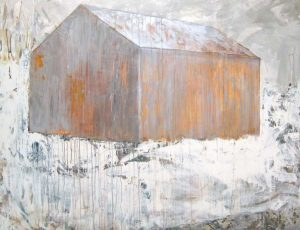 Brenda Cirioni Contemporary Collage on Board of Light Brown Orange Barn in Woods