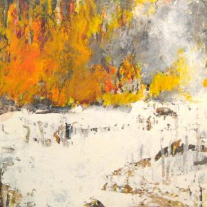 Brenda Cirioni Contemporary Collage of Fire in Snow Burning Orange and Yellow on White