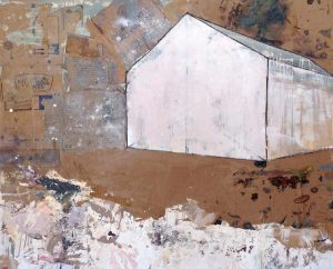 Brenda Cirioni Brown and White Landscape of Rustic Barn on Cardboard Background