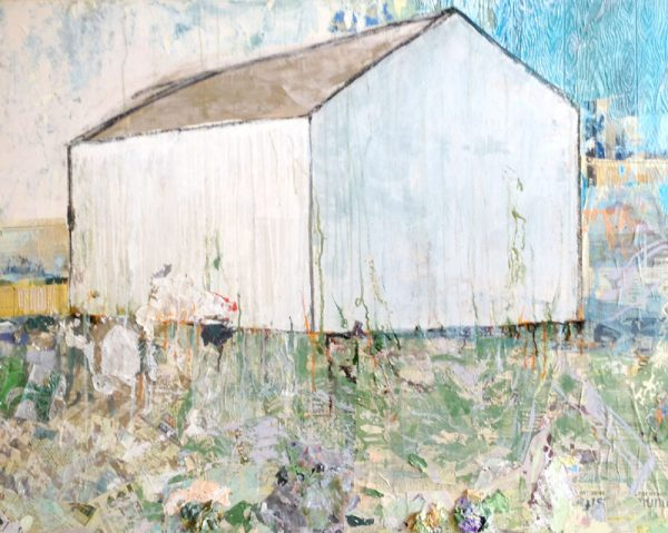 Brenda Cirioni Original Collage Mixed Media Painting of White Barn on Green with Blue Sky Rustic Contemporary
