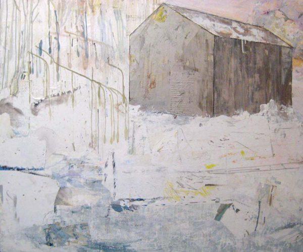 Brenda Cirioni Contemporary Barn Collage with Gray Farm House in Winter Snow