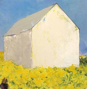 Brenda Cirioni Collage of White Barn with Yellow Flowers & Blue Sky