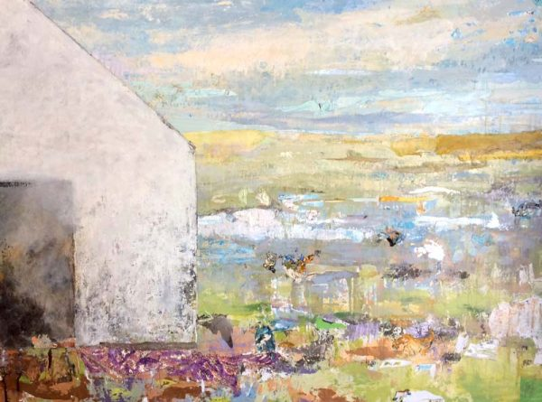 Brenda Cirioni Abstract Farm Landscape with White Barn and Pasture Grass